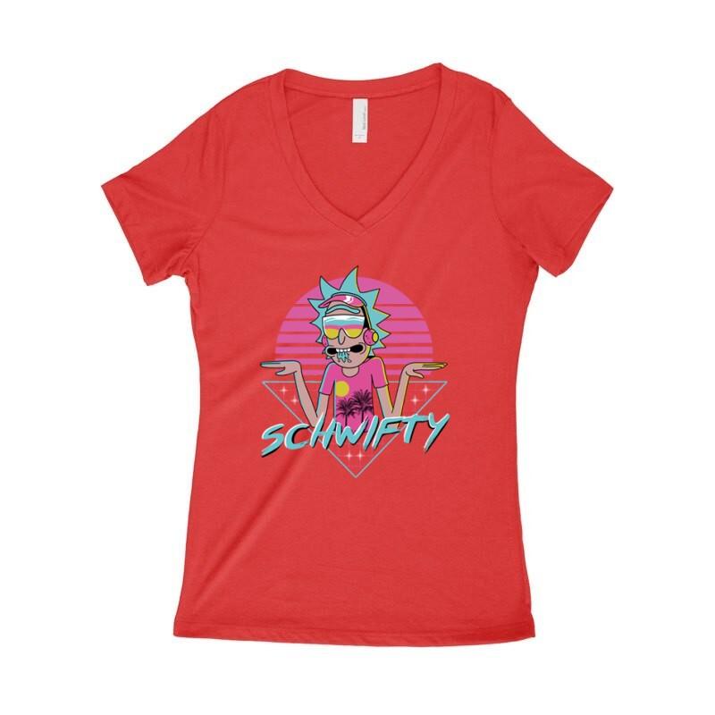 Schwifty Neon Női póló V kivágott