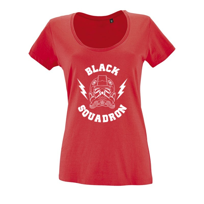 Black Squadron O nyakú női póló