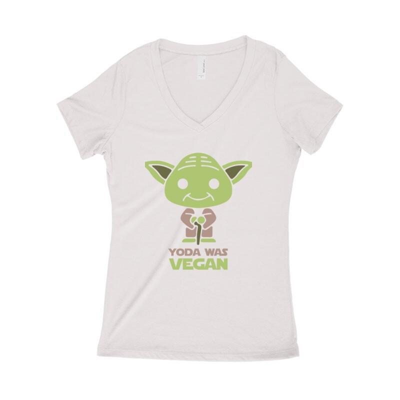Yoda was vegan Női póló V kivágott