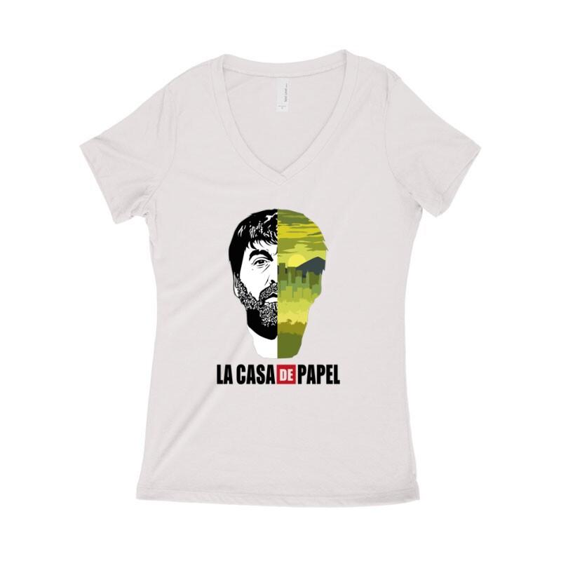 Bogota city & face Női póló V kivágott