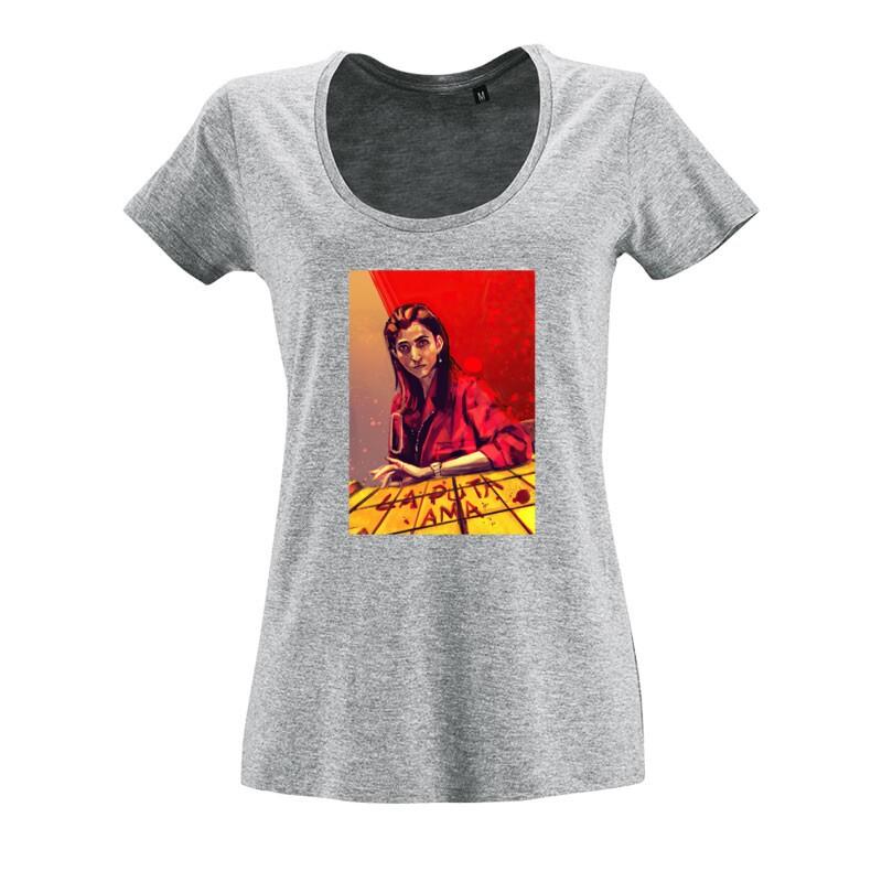 La Puta Ama O nyakú női póló