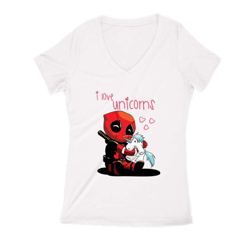I Love Unicorns (Deadpool) Női V Kivágott póló