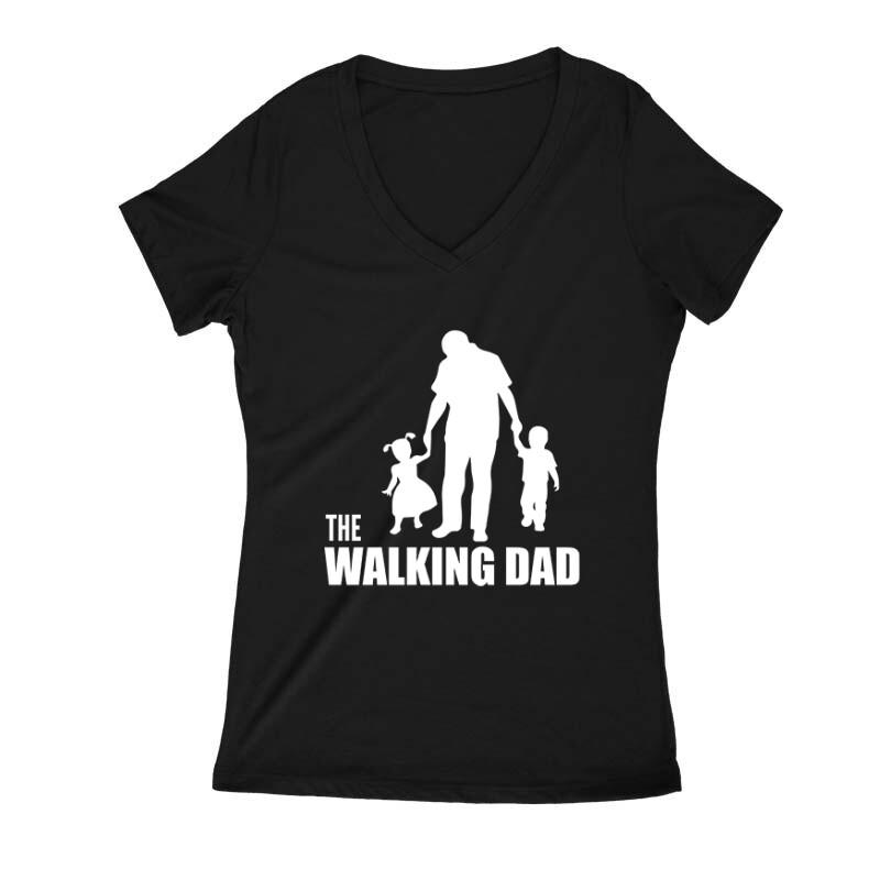 The Walking Dad (Álló, sétáló) Női V Kivágott póló