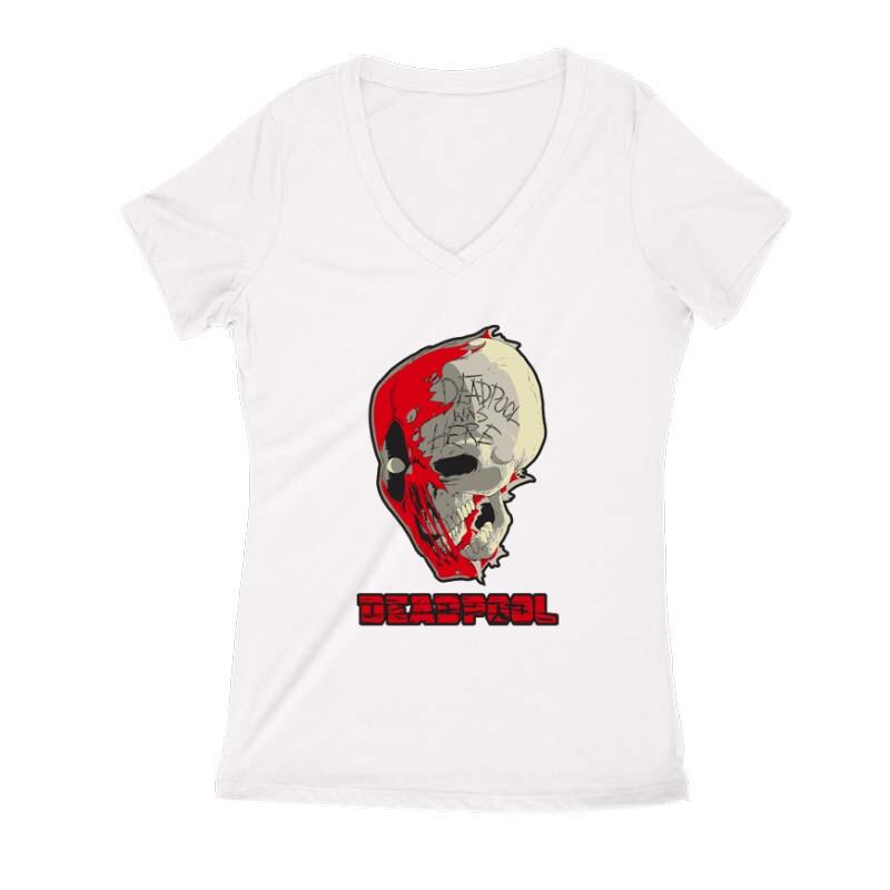 Deadpool Skull Női V Kivágott póló