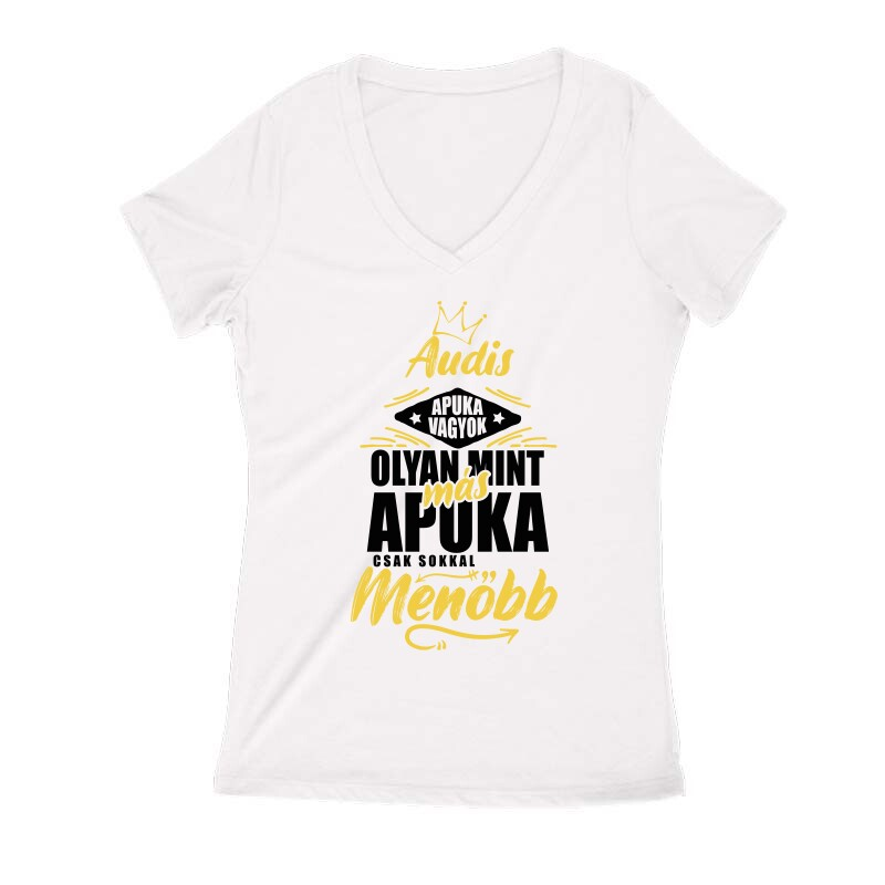 Audis Apuka Női V Kivágott póló