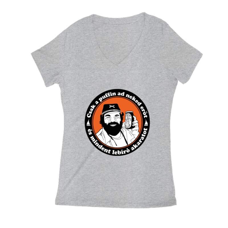 Csak a puffin ad neked erőt 2 Női V Kivágott póló