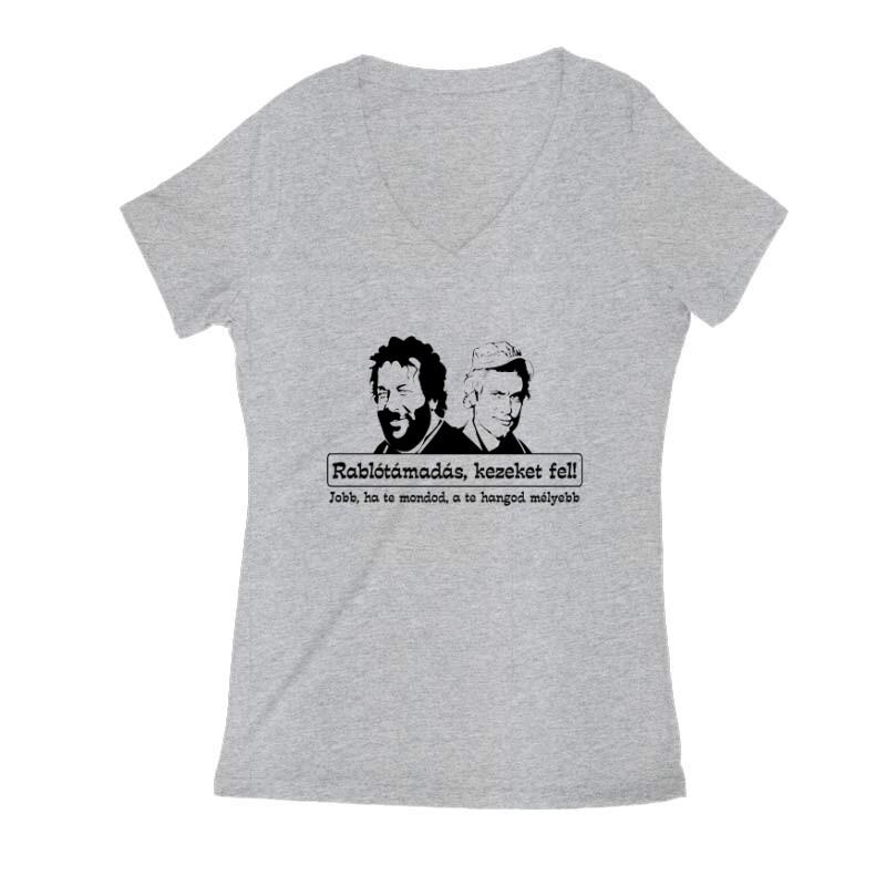 Rablótámadás, kezeket fel! (two face) Női V Kivágott póló
