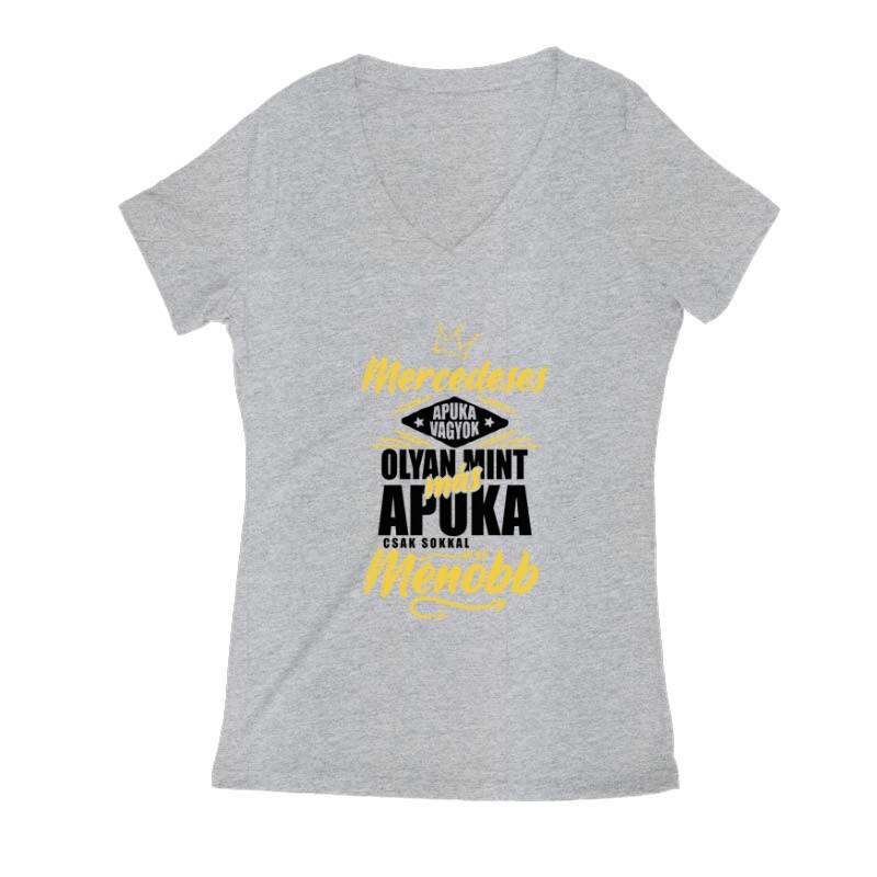Mercedeses Apuka Női V Kivágott póló