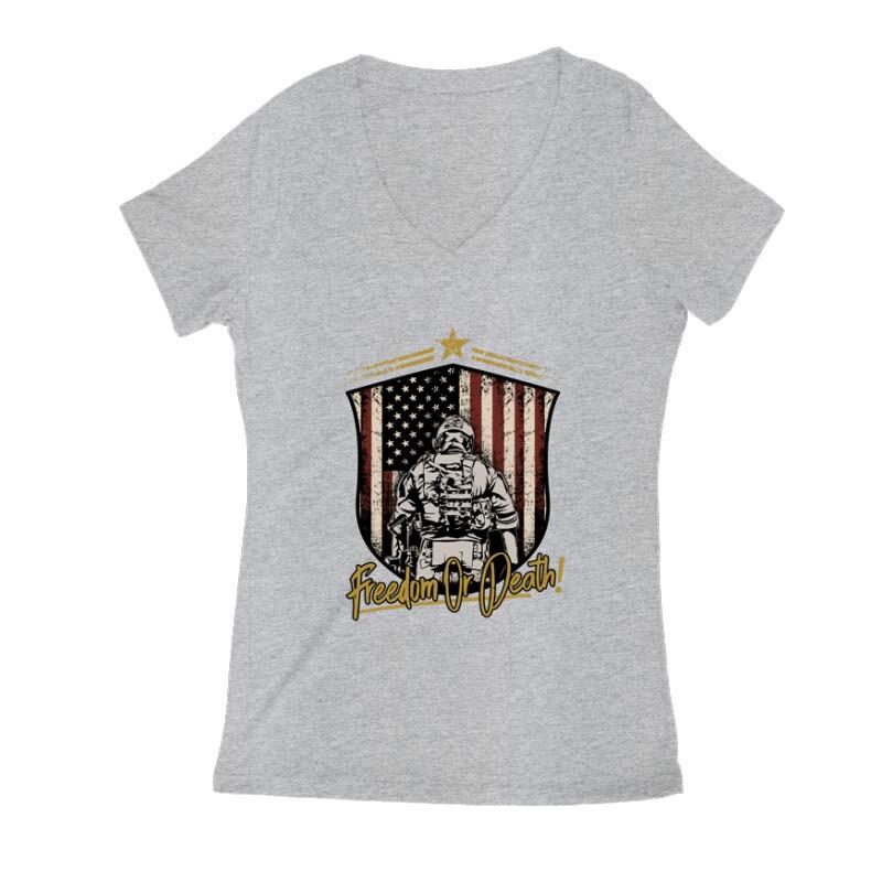 Freedom or Death Női V Kivágott póló