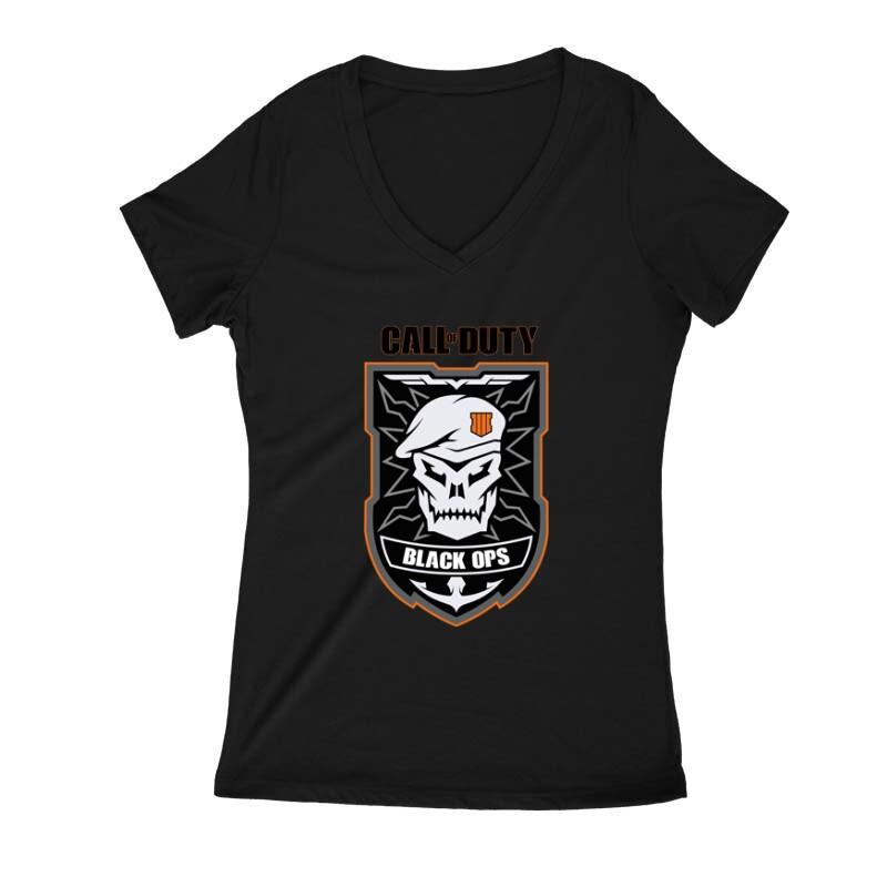Black ops Skull Női V Kivágott póló