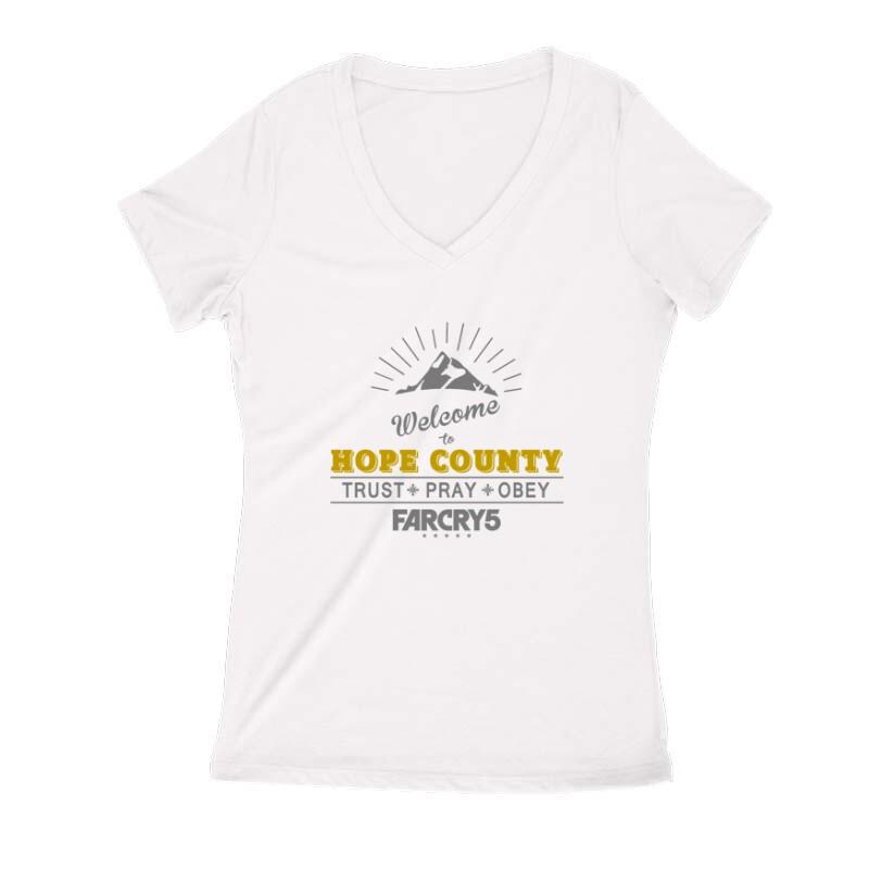 Welcome to Hope County Női V Kivágott póló