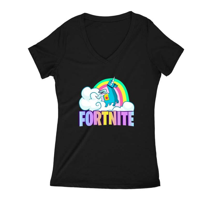 Lama Fortnite Női V Kivágott póló