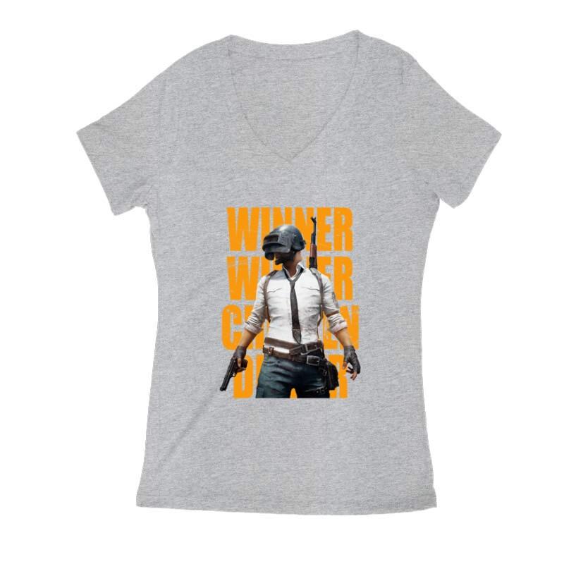 PUBG 4 Női V Kivágott póló