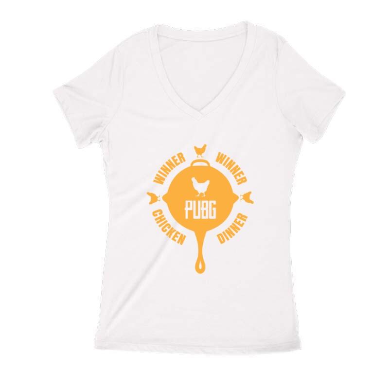 PUBG 5 Női V Kivágott póló