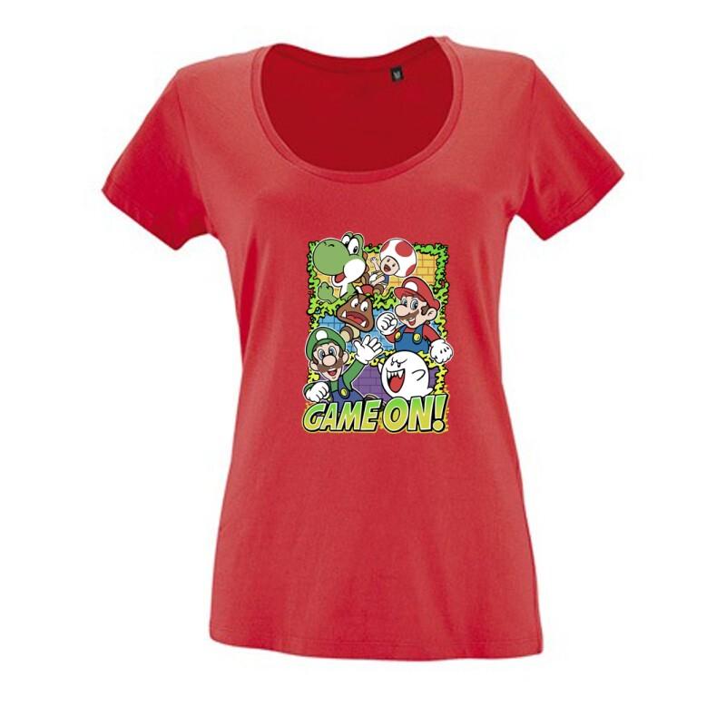 Game On Mario Női O Nyakú Póló