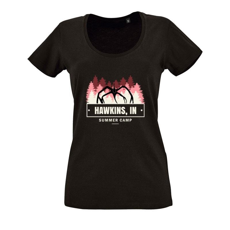 Hawkins Inn Demorgorgon O nyakú női póló