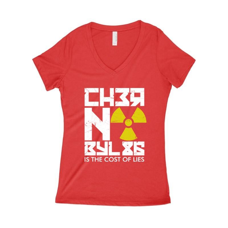 Csernobil Cirill Női póló V kivágott