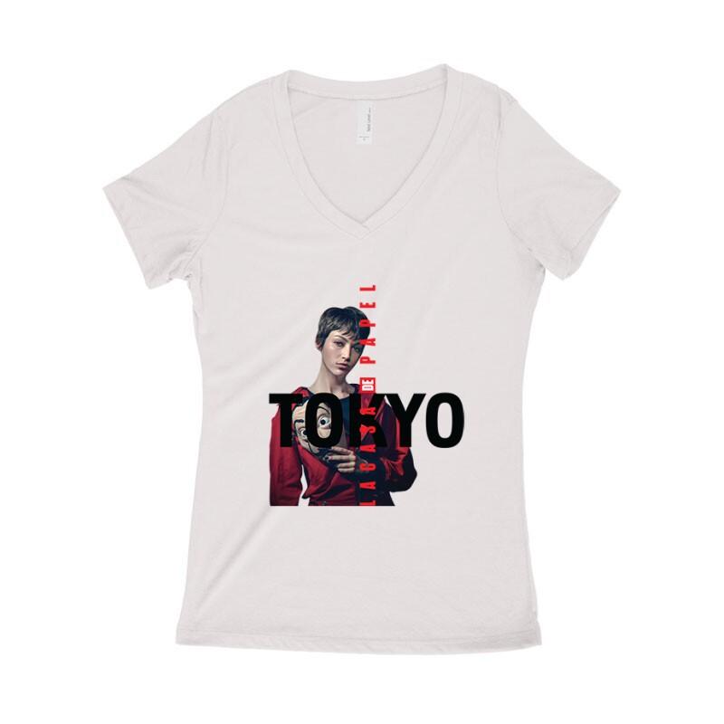 Tokyo Minimal Color Női póló V kivágott