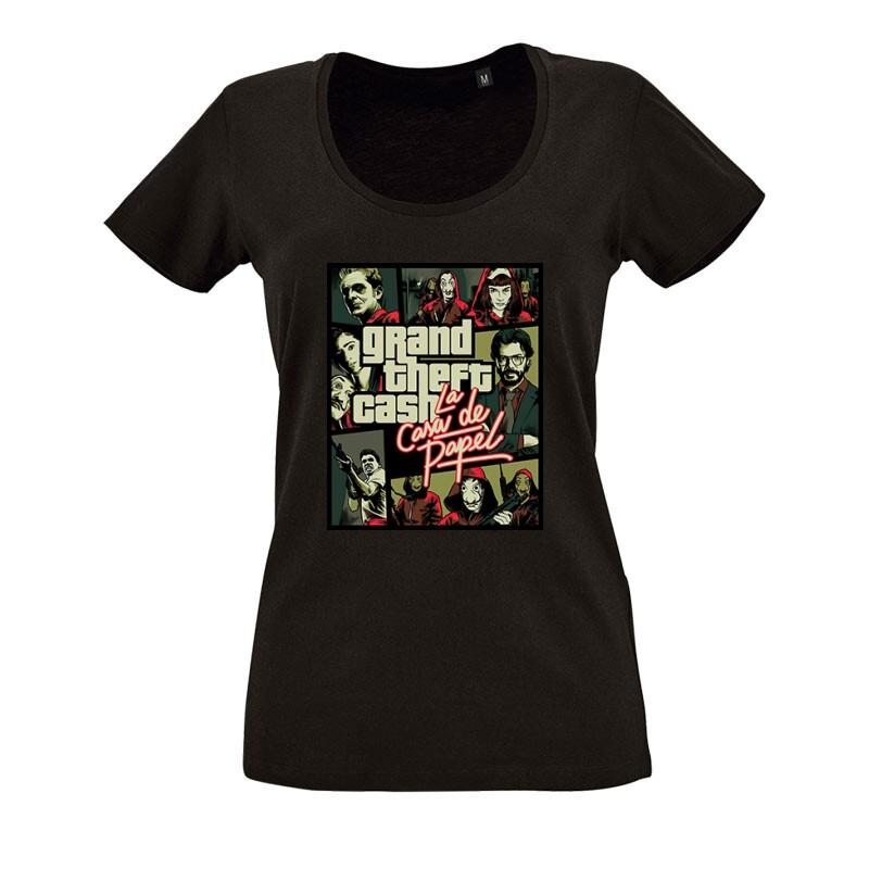 Grand Theft Cash O nyakú női póló
