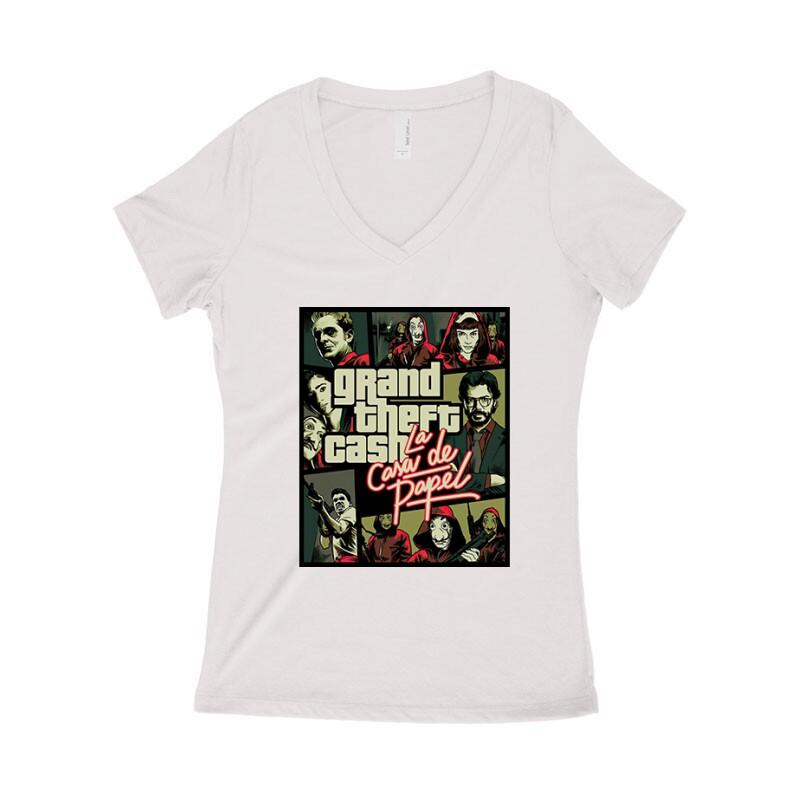 Grand Theft Cash Női póló V kivágott