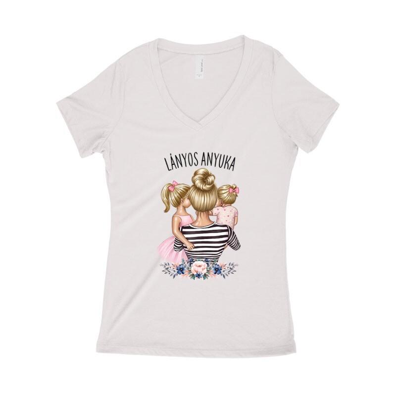 Lányos Anyuka (Gyerekekkel) Női póló V kivágott