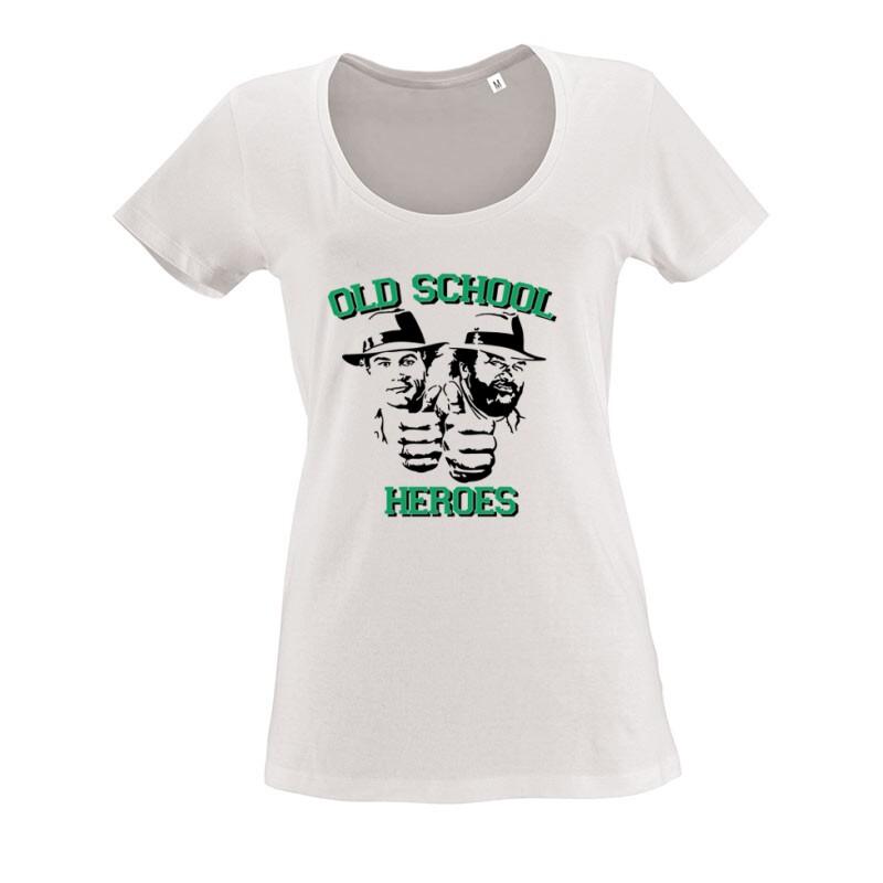 Old School Heroes O nyakú női póló