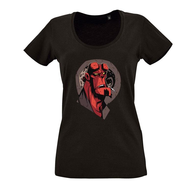 Hellboy Face O nyakú női póló